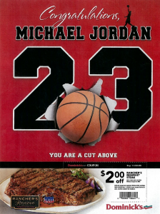 And Michael Jordan sued Dominick's over this ad.